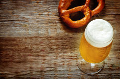 Beer and pretzel Stock Photography