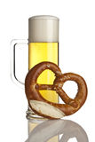 Beer and pretzel isolated Stock Photography