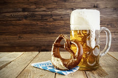 Beer and Pretzel, Oktoberfest. Beer, Pretzel and napkin in bavarian colours, Oktoberfest stock photos