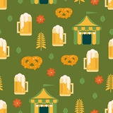 Beer and pretzel pattern Stock Photography