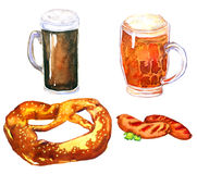 Beer, pretzel and sausages. Hand Painted Watercolor Illustration: Beer and snacks pretzel and sausages Stock Photography
