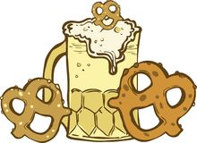 Beer & Pretzels Stock Photography