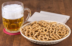 Beer and Pretzels Stock Photography