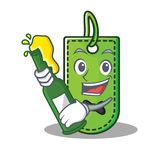 With beer price tag mascot cartoon. Vector illustration Royalty Free Stock Photo