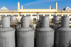Beer processing and storage silos Stock Photos