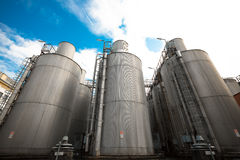 Beer processing and storage silos Royalty Free Stock Photos