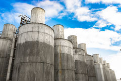 Beer processing and storage silos Royalty Free Stock Image