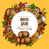 Beer pub barrels, mugs and snacks vector poster. Beer pub vector poster of beer tancard and barrel, sausage barbecue and meat snacks, draught and lager beer can Stock Photography