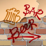 Beer pub. Brick wall. Writing beer, bar, pointer, arrow. Beer pub. Indications of beers and bar wall Stock Photo