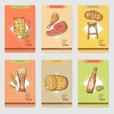 Beer Pub Brochure Template. Hand Drawn Restaurant Menu with Food and Drink. Beer Poster, Banner Royalty Free Stock Image