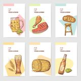 Beer Pub Brochure Template. Hand Drawn Restaurant Menu with Food and Drink. Sketch Beer Poster, Banner, Voucher Stock Photo