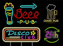 Beer Pub and Good Drink Neon Vector Illustration. Beer pub and good drink, neon signs, disco club and 24 hours service, headlines and glasses with beverages Stock Photo