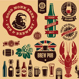 Beer pub labels Royalty Free Stock Image