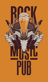 Beer pub with live music. Banner for the beer pub with live music and electric guitar and goat skull Stock Photography