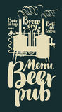 Beer pub menu with retro brewery and inscriptions Royalty Free Stock Photography