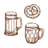Beer pub mugs and pretzel snack vector sketch. Beer glass mugs and snack pretzel bread vector sketch . Sketched frothy or foamy ale or lager and draught beer Stock Images