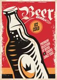 Beer pub poster design for Oktoberfest. With German flag color scheme. Beer bottle vector on old paper texture Stock Photography