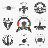Beer pub set. Beer festival Oktoberfest. Brewing typographic labels, logos and badges. Royalty Free Stock Photos