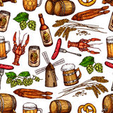 Beer pub snacks and drinks vector seamless pattern Stock Photos