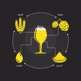 Beer purity law icon. With malt, hops, yeast and water Royalty Free Stock Images