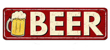 Beer red vintage rusty metal sign Stock Photography