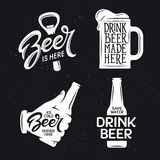 Beer related typography set. Vector vintage lettering illustration. Stock Image