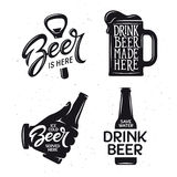 Beer related typography set. Vector vintage lettering illustration. Stock Photo