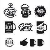 Beer related typography set. Vector vintage lettering illustration. Royalty Free Stock Photography