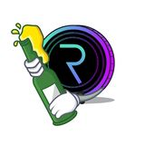 With beer request network coin mascot cartoon. Vector illustration Stock Photo