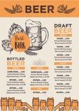 Beer restaurant cafe menu, template design. Stock Image
