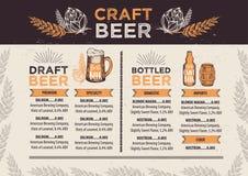 Beer restaurant cafe menu, template design. stock illustration