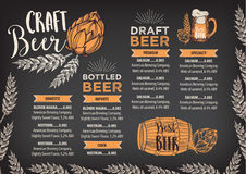 Beer restaurant cafe menu, template design. Beer restaurant brochure vector, alcohol menu design. Vector bar template with hand-drawn graphic. Beer flyer Royalty Free Stock Photography