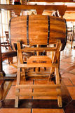 Beer restaurant indoor with wooden furniture. With chairs wood and beer Royalty Free Stock Images