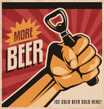 Beer retro poster design with revolution fist. More beer, retro vector design concept. Ice cold beer sold here vintage poster template on old paper texture