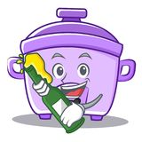 With beer rice cooker character cartoon. Vector Stock Photography