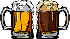 Beer or Root Beer Mugs Vector Illustration. Cartoon images of Beer Mugs or Root Beer Mugs with Foam Stock Photo