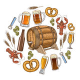 Beer round template Royalty Free Stock Image
