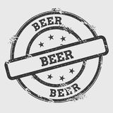 Beer rubber stamp isolated on white background. Grunge round seal with text, ink texture and splatter and blots, vector illustration Royalty Free Stock Photos