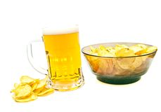 Beer and ruffles chips. On white background Stock Images