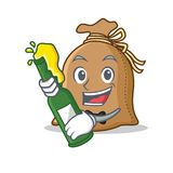 With beer sack mascot cartoon style. Vector illustration Stock Photo