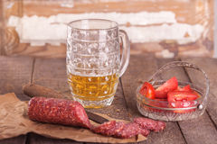 Beer and salami Stock Image