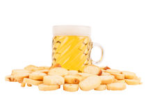 Beer and salted crackers Stock Photography