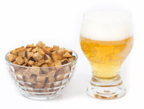 Beer with salty crackers Stock Photo