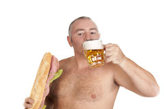 Beer and sandwich Royalty Free Stock Photos