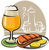 Beer and sandwich with salmon. At the pub Royalty Free Stock Images