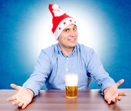 Beer and Santa royalty free stock photography