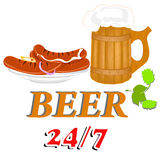 Beer and sausage Royalty Free Stock Photos