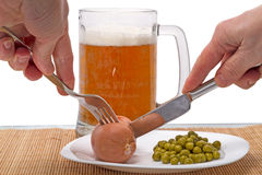 Beer and sausages Stock Image