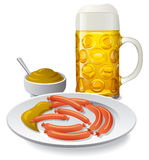 Beer and sausages with mustard Stock Image