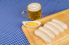 Beer and sausages Stock Photos